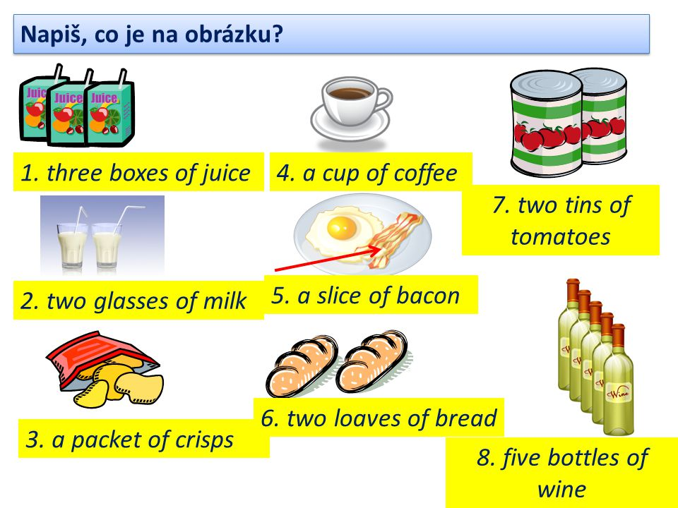 Napiš, co je na obrázku? 1. three boxes of juice 2. two glasses of milk 3. a packet of crisps 4. a cup of coffee 5. a slice of bacon 6. two loaves of