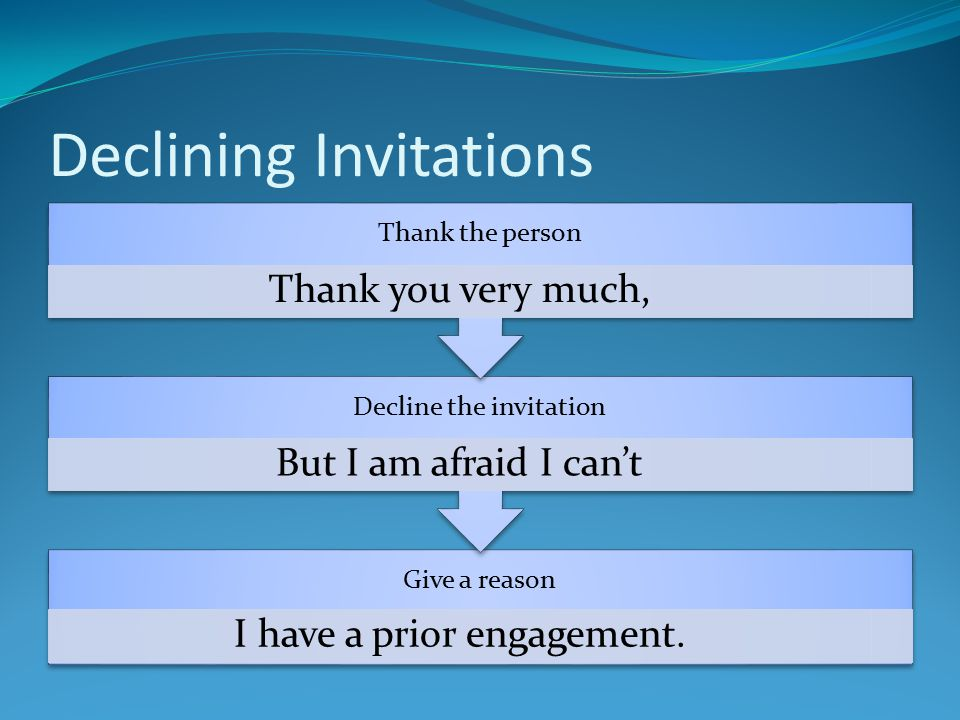 Declining Invitations Give a reason I have a prior engagement.