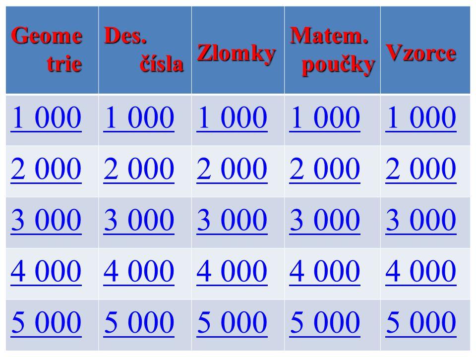 Geome trie trieDes. čísla číslaZlomkyMatem. poučky poučkyVzorce 1 000 2 000 3 000 4 000 5 000