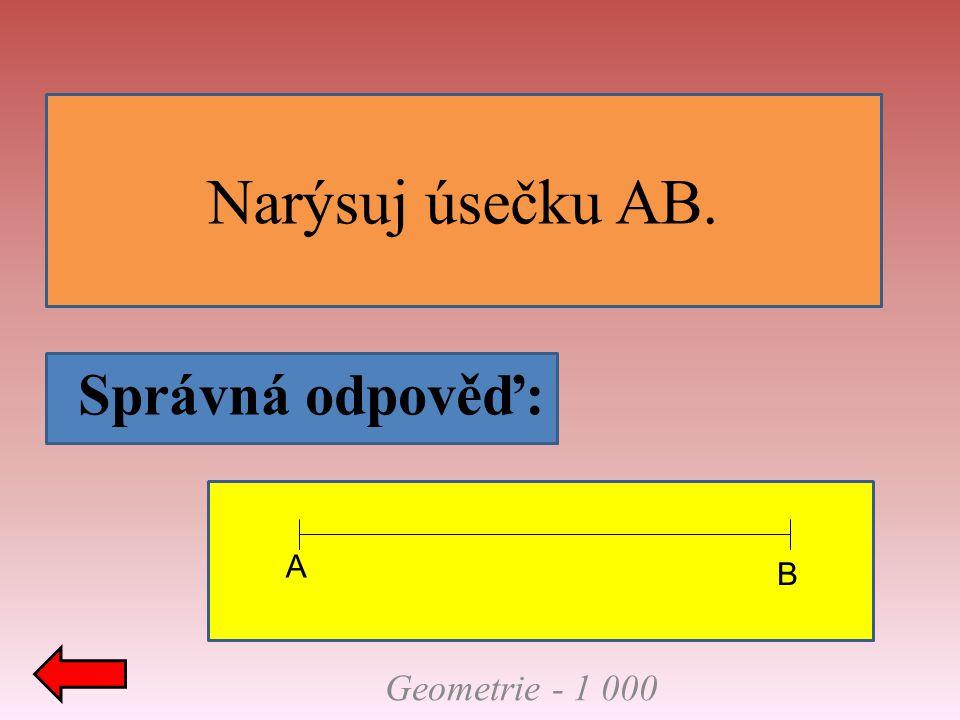 Narýsuj úsečku AB. Správná odpověď: Geometrie - 1 000 A B