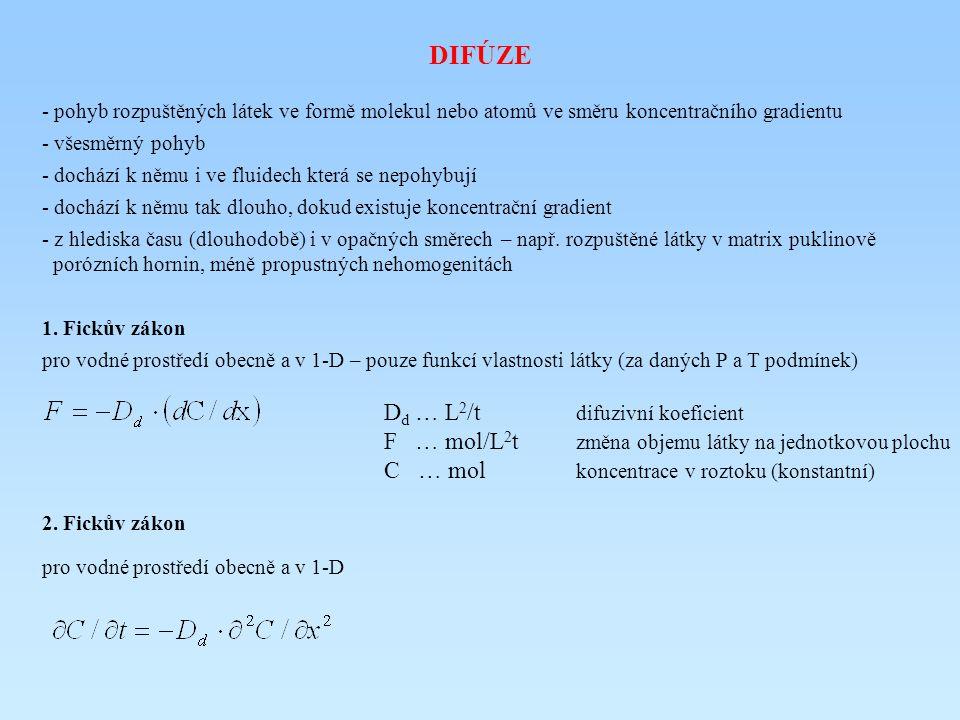 DIFÚZE - pohyb rozpuštěných látek ve formě molekul nebo atomů ve směru koncentračního gradientu - všesměrný pohyb - dochází k němu i ve fluidech která