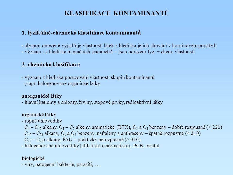KLASIFIKACE KONTAMINANTŮ 1. fyzikálně-chemická klasifikace kontaminantů - alespoň omezeně vyjadřuje vlastnosti látek z hlediska jejich chování v horni