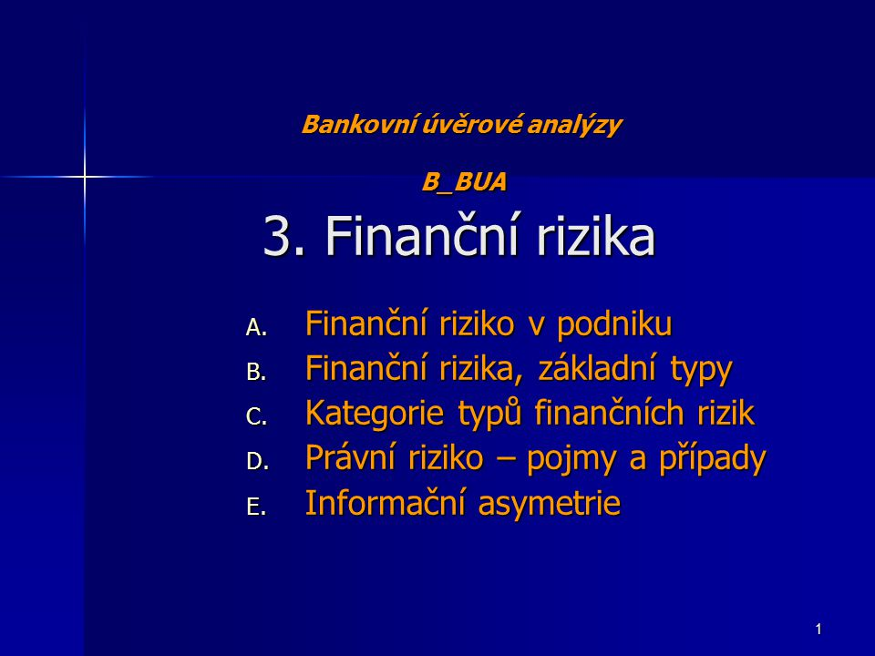 Finanční rizika 5.Obchodní riziko Business risk členění na 7 kategorií: 1.