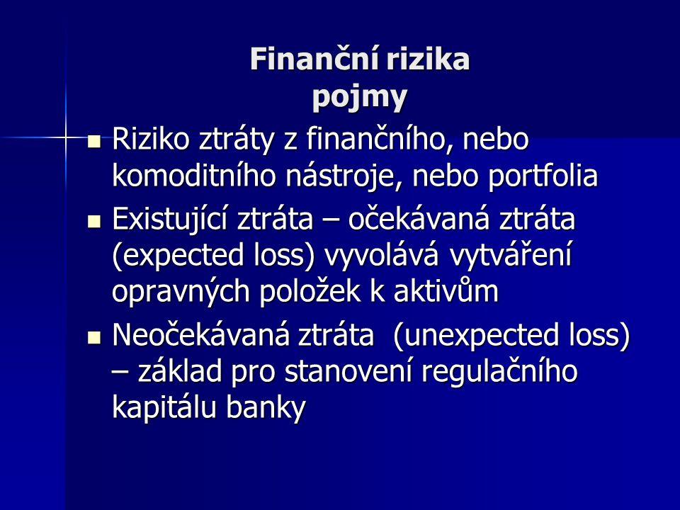 Finanční rizika pojmy Riziko ztráty z finančního, nebo komoditního nástroje, nebo portfolia Riziko ztráty z finančního, nebo komoditního nástroje, neb