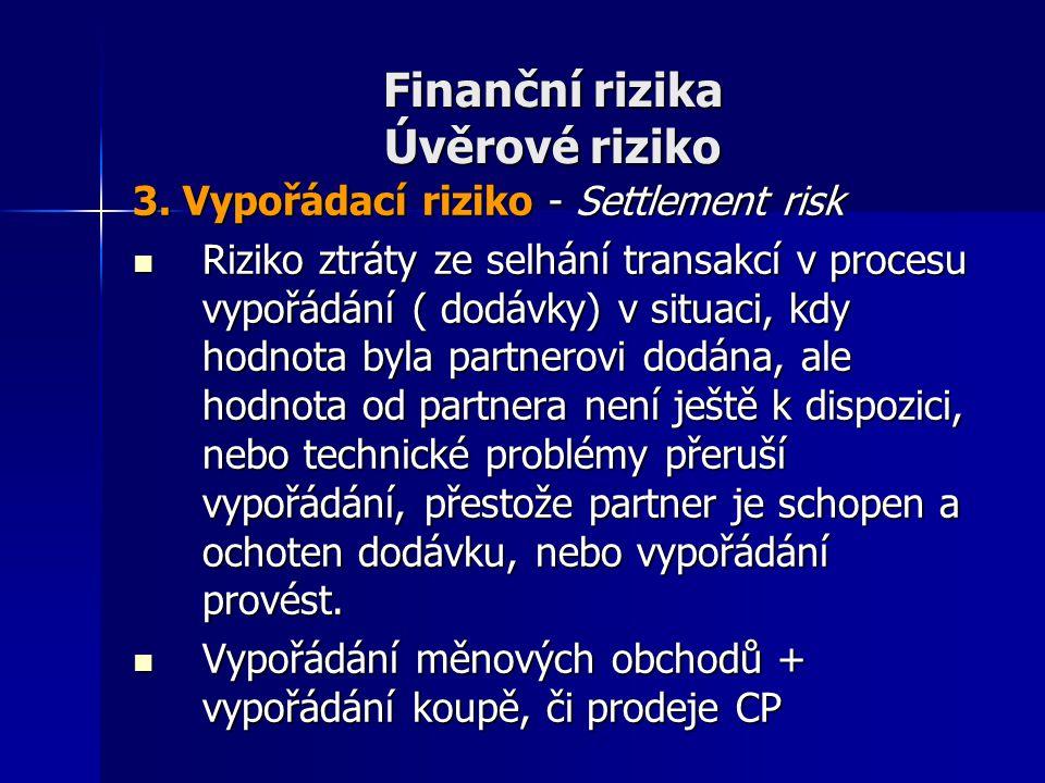 Finanční rizika Úvěrové riziko 3. Vypořádací riziko - Settlement risk Riziko ztráty ze selhání transakcí v procesu vypořádání ( dodávky) v situaci, kd