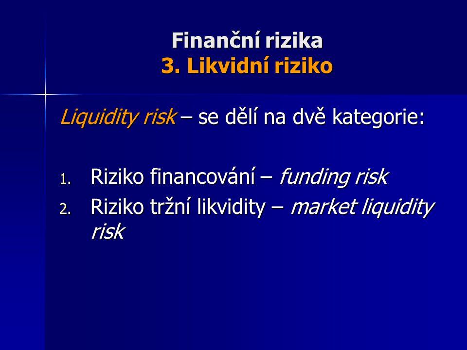 Finanční rizika 3. Likvidní riziko Liquidity risk – se dělí na dvě kategorie: 1. Riziko financování – funding risk 2. Riziko tržní likvidity – market