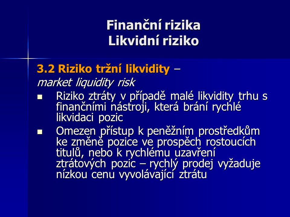 Finanční rizika Likvidní riziko 3.2 Riziko tržní likvidity – market liquidity risk Riziko ztráty v případě malé likvidity trhu s finančními nástroji,