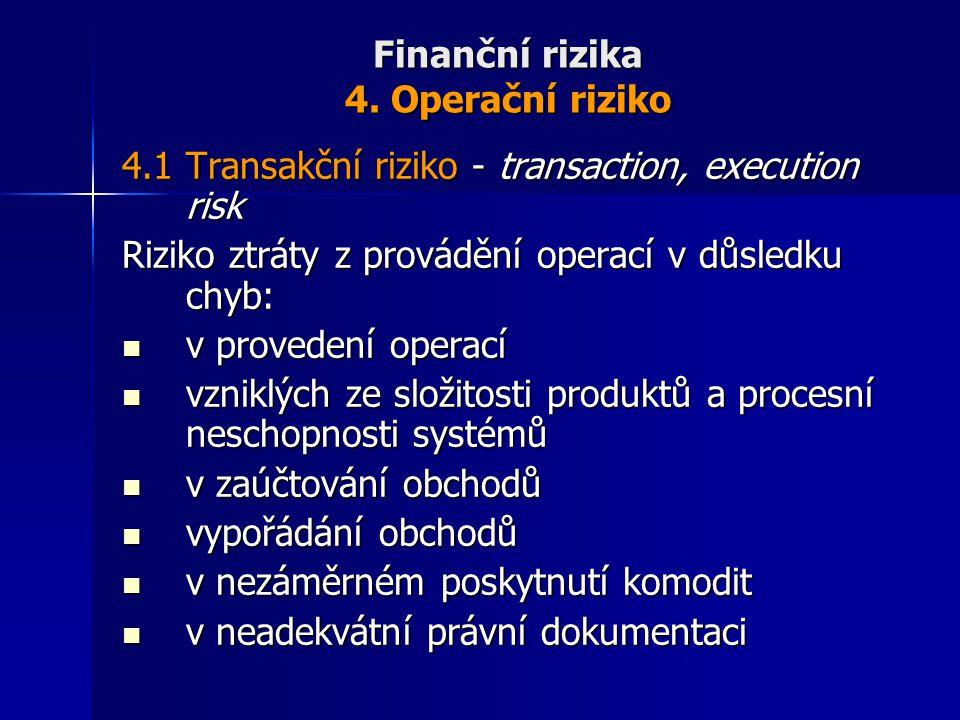 Finanční rizika 4. Operační riziko 4.1 Transakční riziko - transaction, execution risk Riziko ztráty z provádění operací v důsledku chyb: v provedení