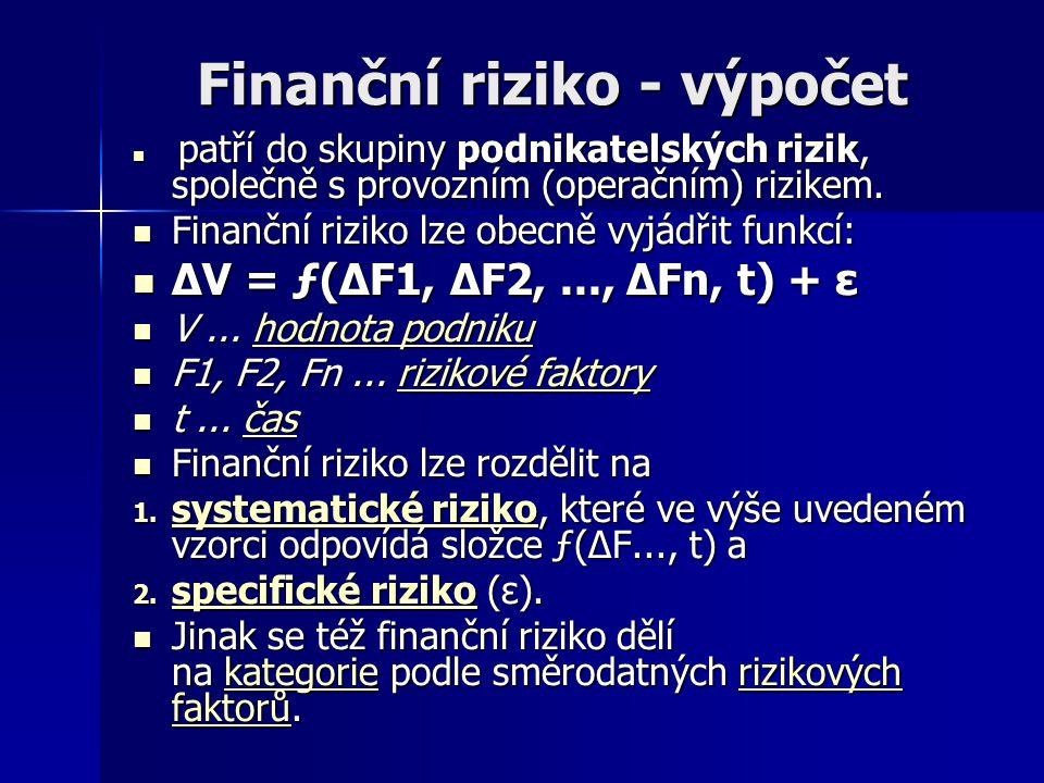 Finanční rizika 3.Likvidní riziko Liquidity risk – se dělí na dvě kategorie: 1.