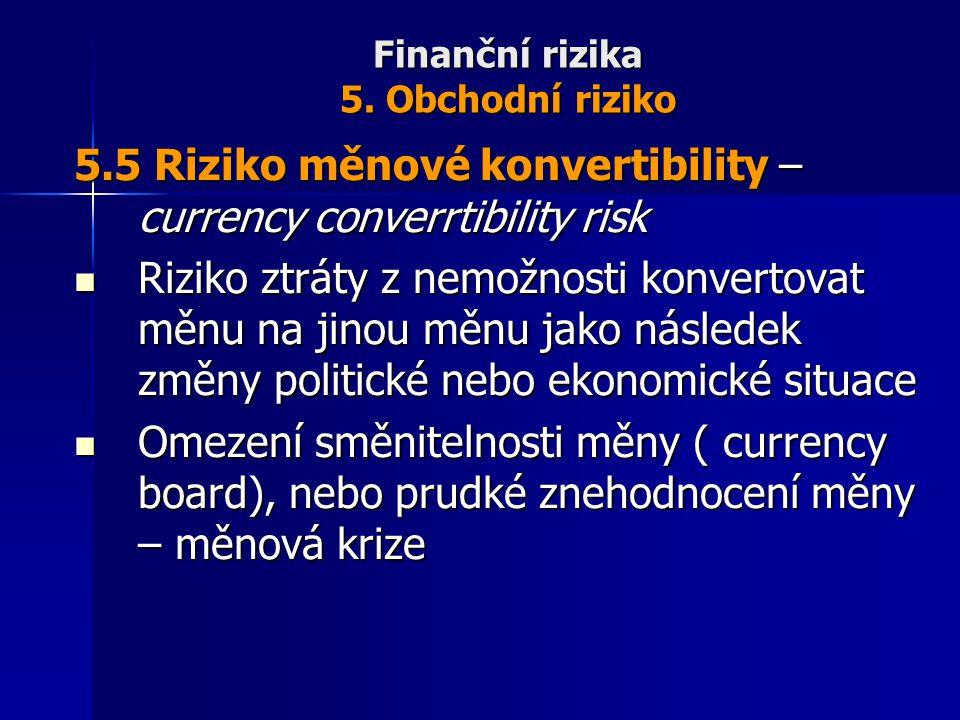 Finanční rizika 5. Obchodní riziko 5.5 Riziko měnové konvertibility – currency converrtibility risk Riziko ztráty z nemožnosti konvertovat měnu na jin