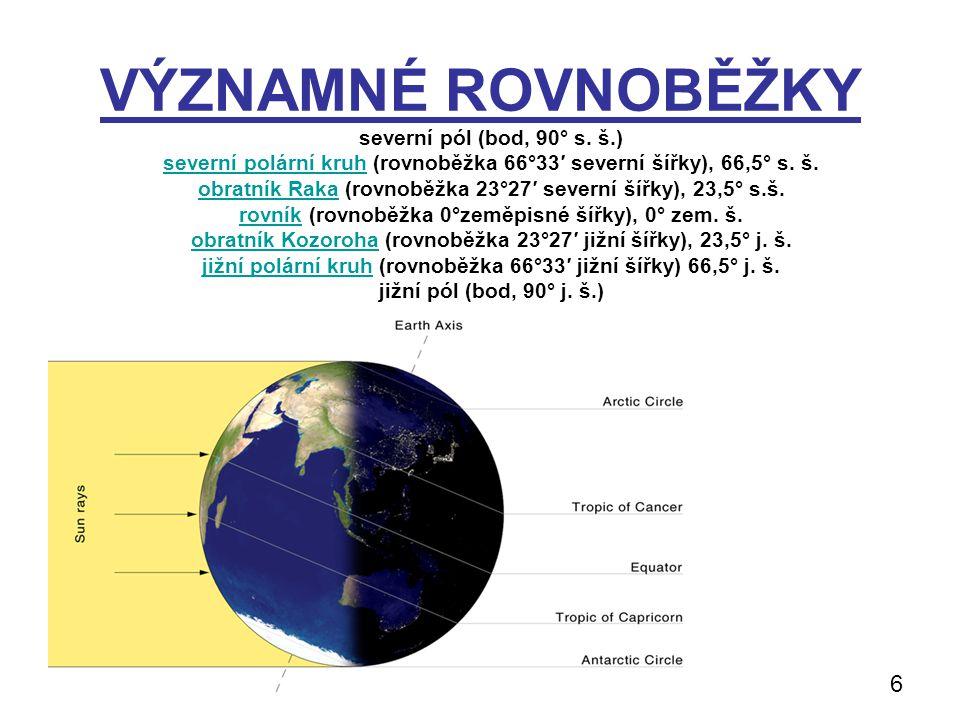 VÝZNAMNÉ ROVNOBĚŽKY severní pól (bod, 90° s. š.) severní polární kruhseverní polární kruh (rovnoběžka 66°33′ severní šířky), 66,5° s. š. obratník Raka