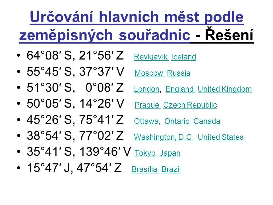 Určování hlavních měst podle zeměpisných souřadnic - Řešení 64°08′ S, 21°56′ Z Reykjavík Iceland Reykjavík Iceland 55°45′ S, 37°37′ V Moscow Russia Mo