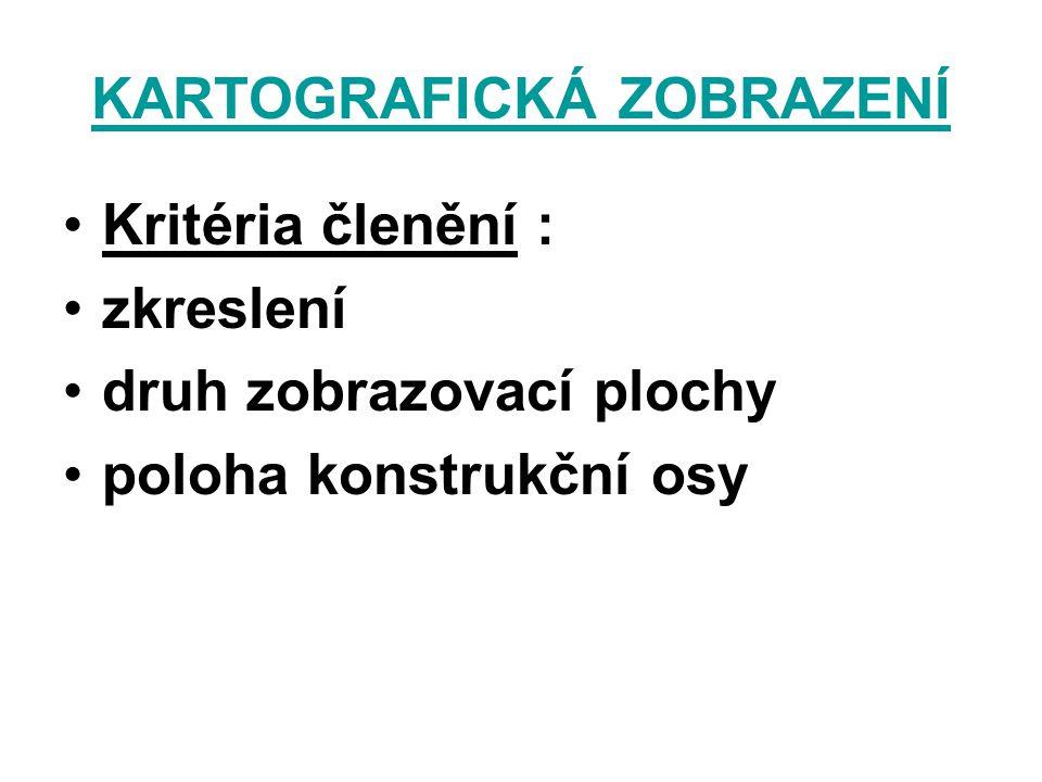 KARTOGRAFICKÁ ZOBRAZENÍ Kritéria členění : zkreslení druh zobrazovací plochy poloha konstrukční osy