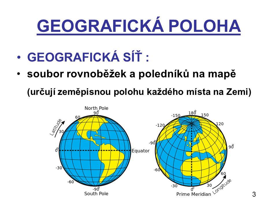 GEOGRAFICKÁ POLOHA GEOGRAFICKÁ SÍŤ : soubor rovnoběžek a poledníků na mapě (určují zeměpisnou polohu každého místa na Zemi) 3