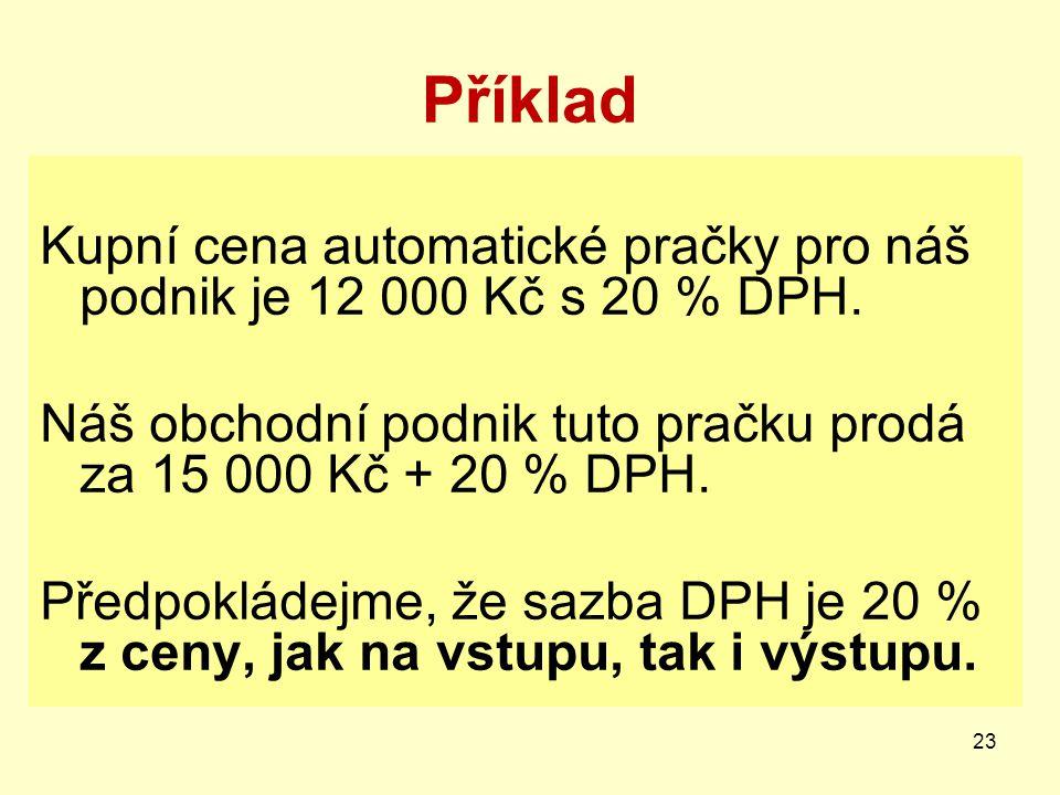 Příklad Kupní cena automatické pračky pro náš podnik je 12 000 Kč s 20 % DPH. Náš obchodní podnik tuto pračku prodá za 15 000 Kč + 20 % DPH. Předpoklá