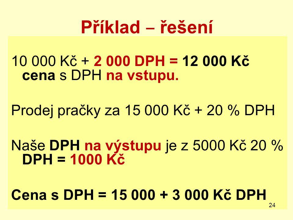 Příklad ‒ řešení 10 000 Kč + 2 000 DPH = 12 000 Kč cena s DPH na vstupu. Prodej pračky za 15 000 Kč + 20 % DPH Naše DPH na výstupu je z 5000 Kč 20 % D