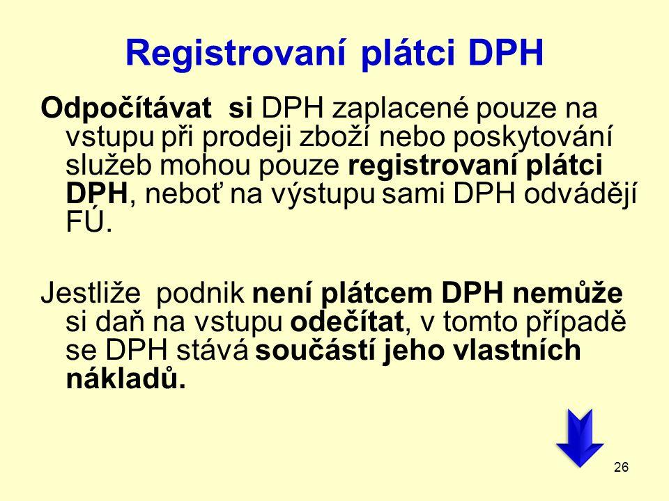 Registrovaní plátci DPH Odpočítávat si DPH zaplacené pouze na vstupu při prodeji zboží nebo poskytování služeb mohou pouze registrovaní plátci DPH, ne