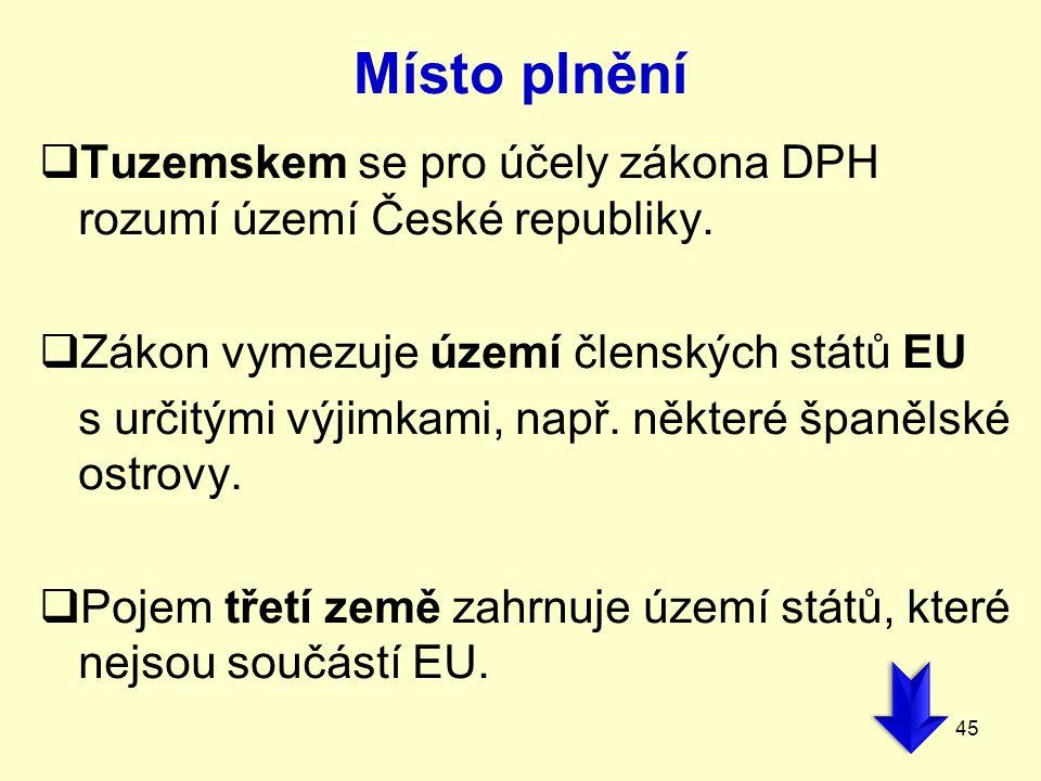 Místo plnění  Tuzemskem se pro účely zákona DPH rozumí území České republiky.  Zákon vymezuje území členských států EU s určitými výjimkami, např. n