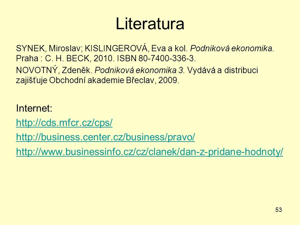 Literatura SYNEK, Miroslav; KISLINGEROVÁ, Eva a kol. Podniková ekonomika. Praha : C. H. BECK, 2010. ISBN 80-7400-336-3. NOVOTNÝ, Zdeněk. Podniková eko