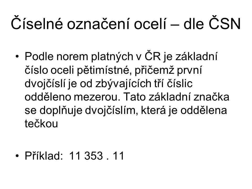 Číselné označení ocelí – dle ČSN Podle norem platných v ČR je základní číslo oceli pětimístné, přičemž první dvojčíslí je od zbývajících tří číslic od