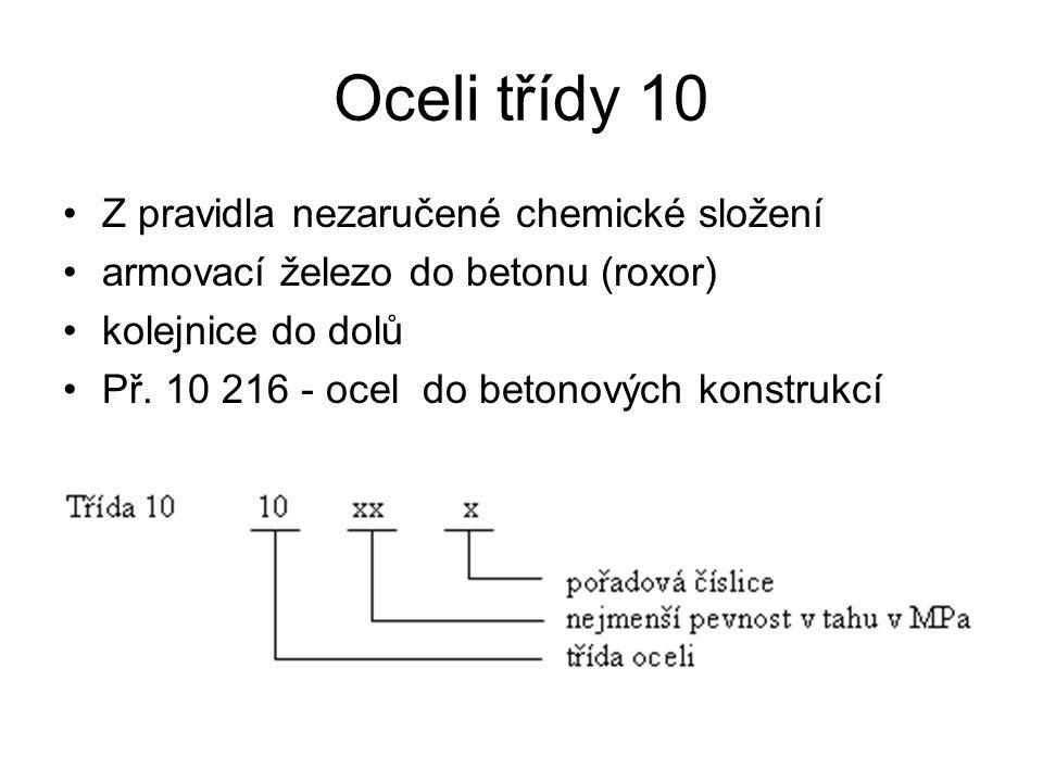 Oceli třídy 10 Z pravidla nezaručené chemické složení armovací železo do betonu (roxor) kolejnice do dolů Př. 10 216 - ocel do betonových konstrukcí