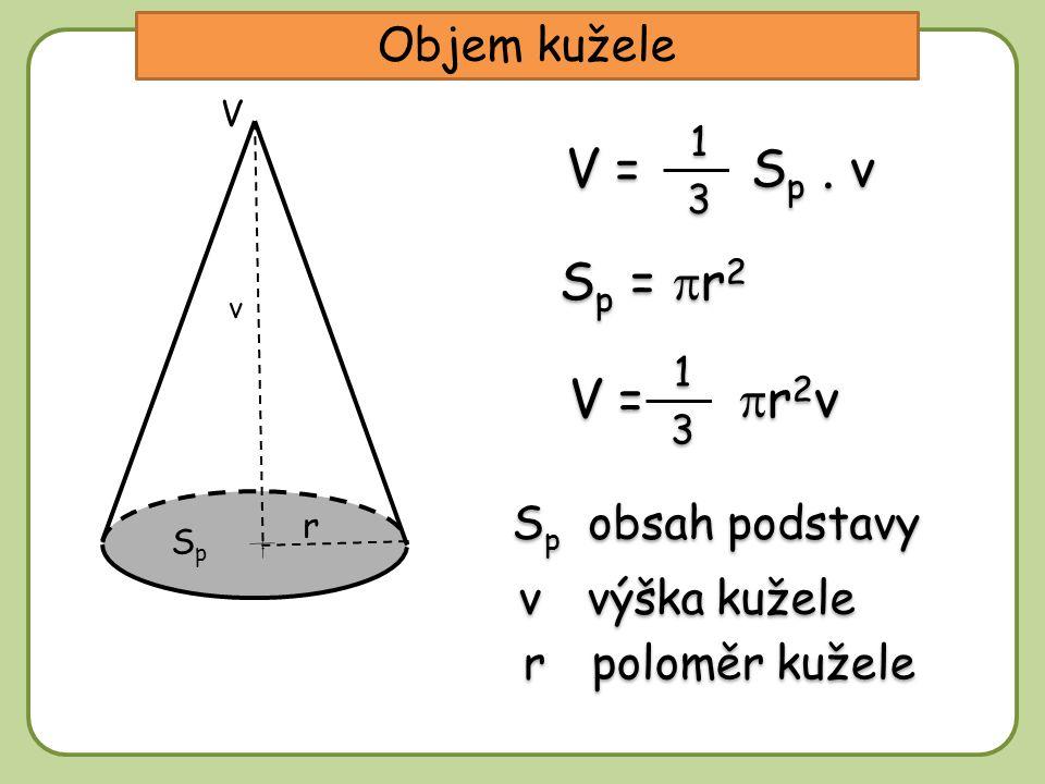 Objem kužele v výška kužele S p obsah podstavy V = S p. v 1 1 3 3 v V SpSp r r poloměr kužele V =  r 2 v 1 1 3 3 S p =  r 2
