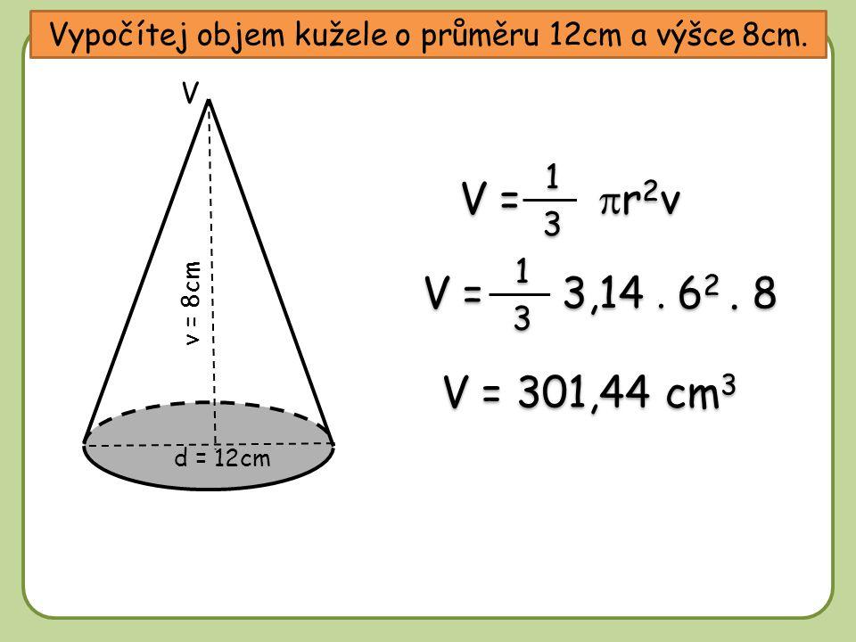 Vypočítej objem kužele, který vznikne rotací rovnostranného trojúhelníku s délkou strany 8cm kolem své osy.