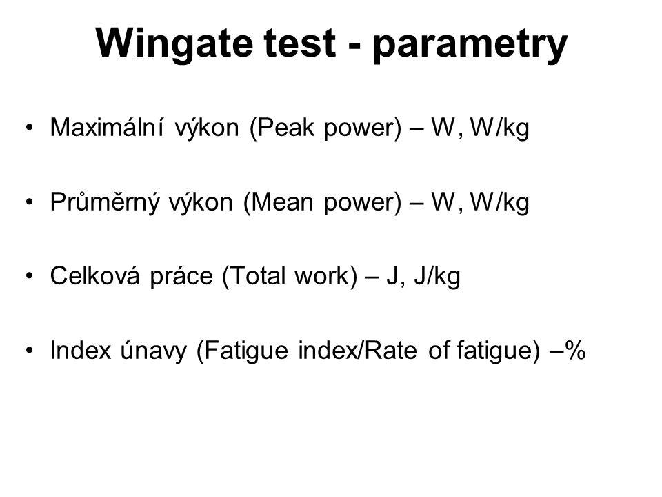 Maximální výkon (Peak power) – W, W/kg Průměrný výkon (Mean power) – W, W/kg Celková práce (Total work) – J, J/kg Index únavy (Fatigue index/Rate of fatigue) –% Wingate test - parametry