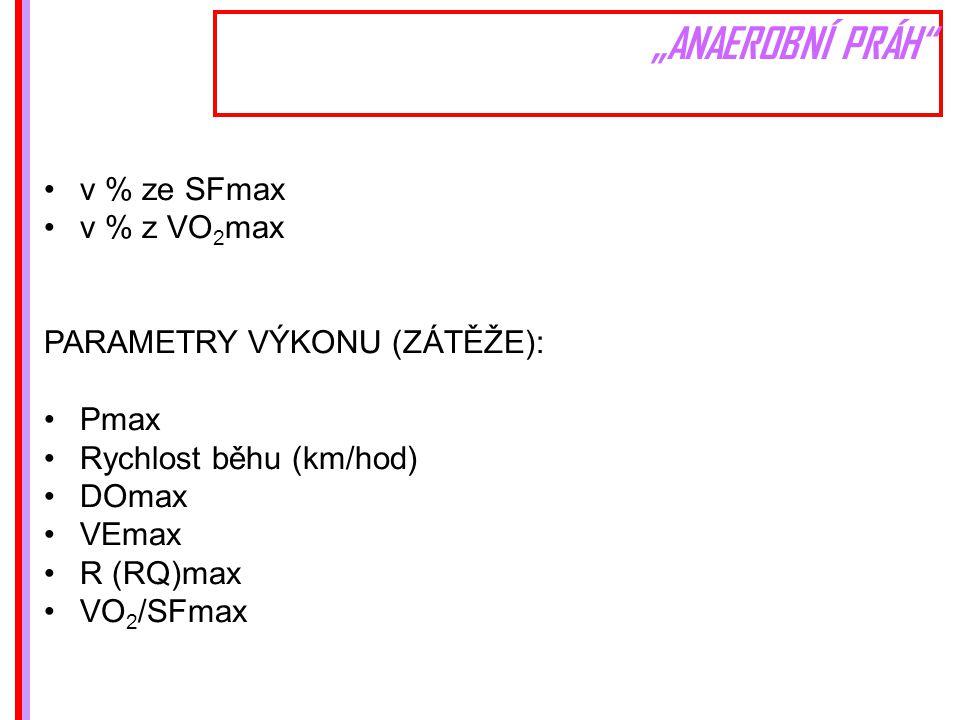 """""""ANAEROBNÍ PRÁH v % ze SFmax v % z VO 2 max PARAMETRY VÝKONU (ZÁTĚŽE): Pmax Rychlost běhu (km/hod) DOmax VEmax R (RQ)max VO 2 /SFmax"""
