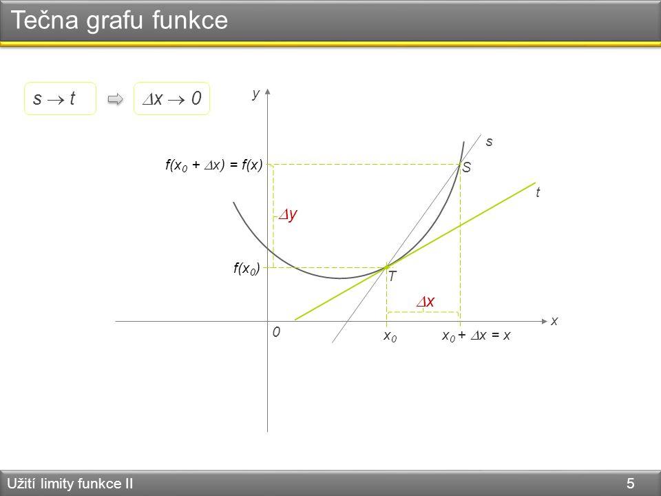 Tečna grafu funkce Užití limity funkce II 5 0 x y T S s t x0x0 x 0 +  x = x xx f(x 0 ) f(x 0 +  x) = f(x) yy  x  0 s  t