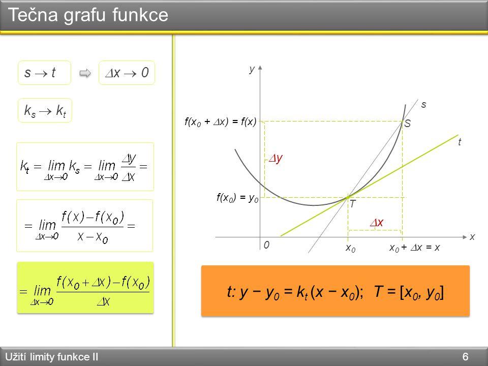Tečna grafu funkce Užití limity funkce II 6 0 x y T S s t x0x0 x 0 +  x = x xx  x  0 f(x 0 ) = y 0 f(x 0 +  x) = f(x) s  t yy ks  ktks  kt t: y − y 0 = k t (x − x 0 ); T = [x 0, y 0 ]