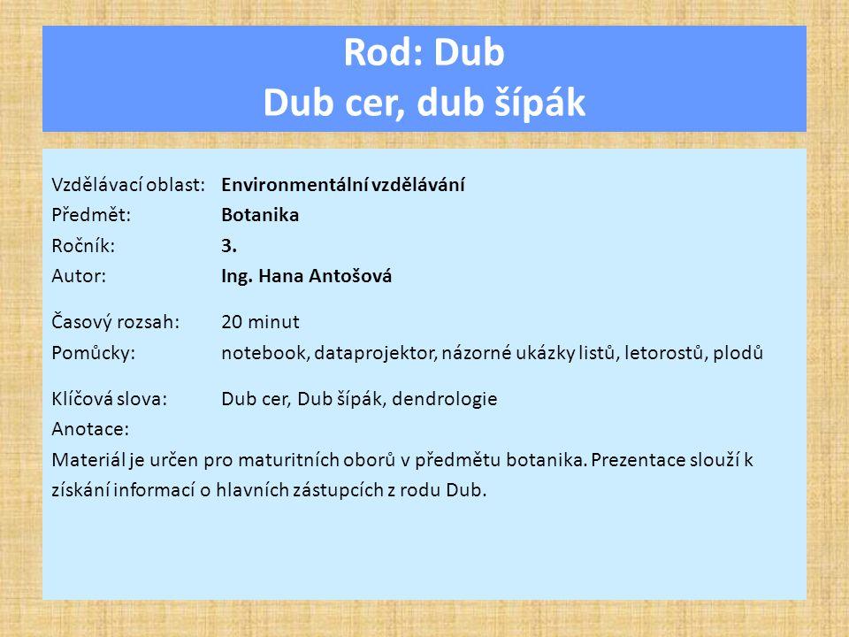 Rod: Dub Dub cer, dub šípák Vzdělávací oblast:Environmentální vzdělávání Předmět:Botanika Ročník:3.