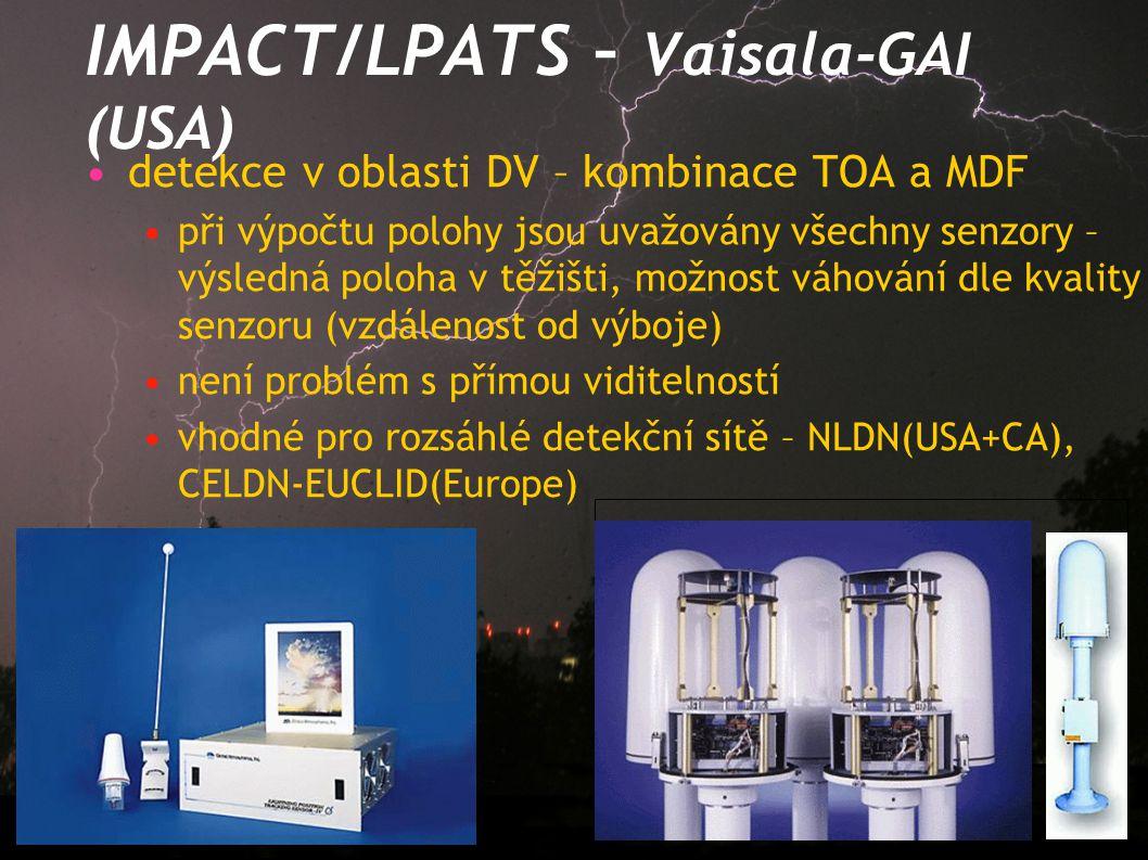 IMPACT/LPATS – Vaisala-GAI (USA) detekce v oblasti DV – kombinace TOA a MDF při výpočtu polohy jsou uvažovány všechny senzory – výsledná poloha v těži