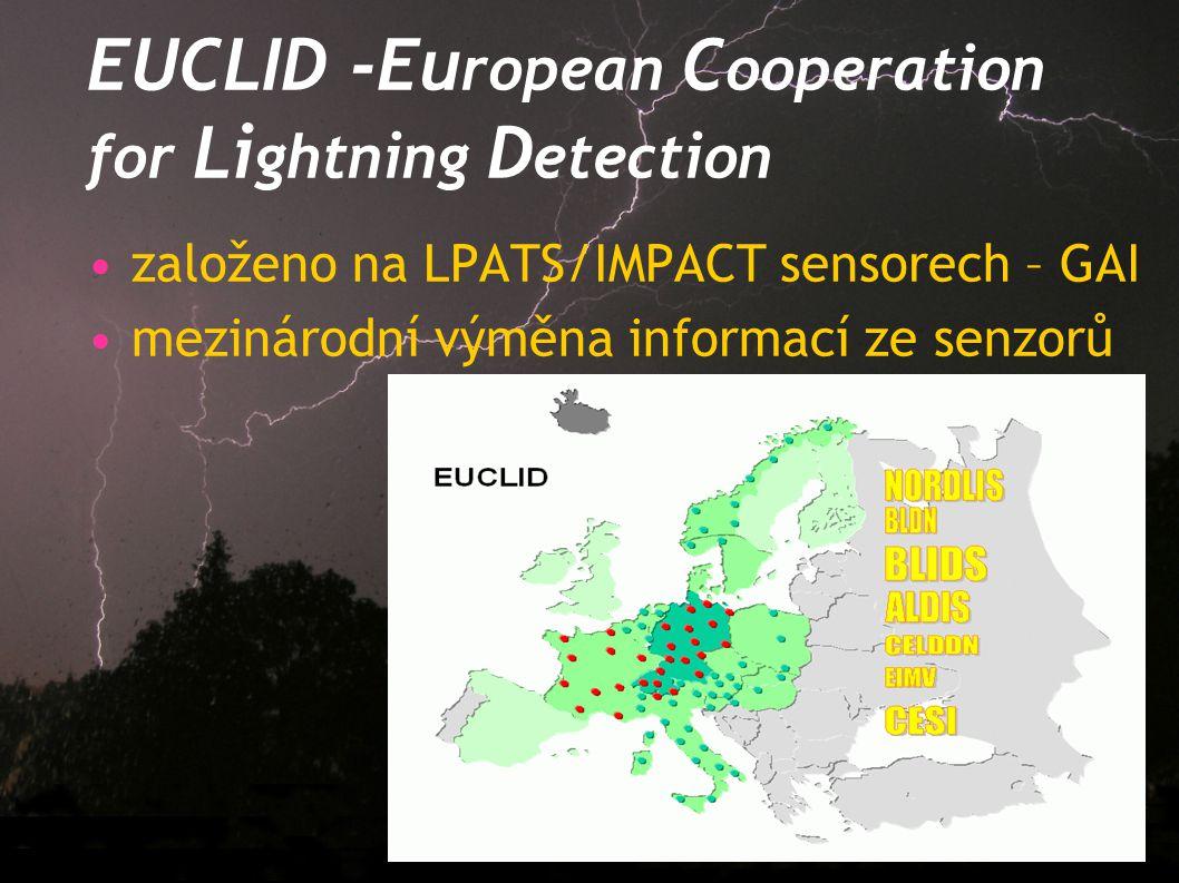 EUCLID -Eu ropean C ooperation for Li ghtning D etection založeno na LPATS/IMPACT sensorech – GAI mezinárodní výměna informací ze senzorů