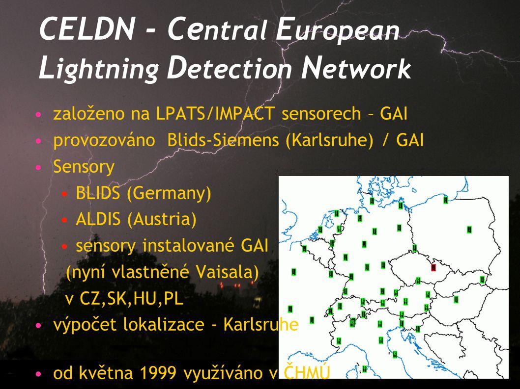 CELDN - Ce ntral E uropean L ightning D etection N etwork založeno na LPATS/IMPACT sensorech – GAI provozováno Blids-Siemens (Karlsruhe) / GAI Sensory