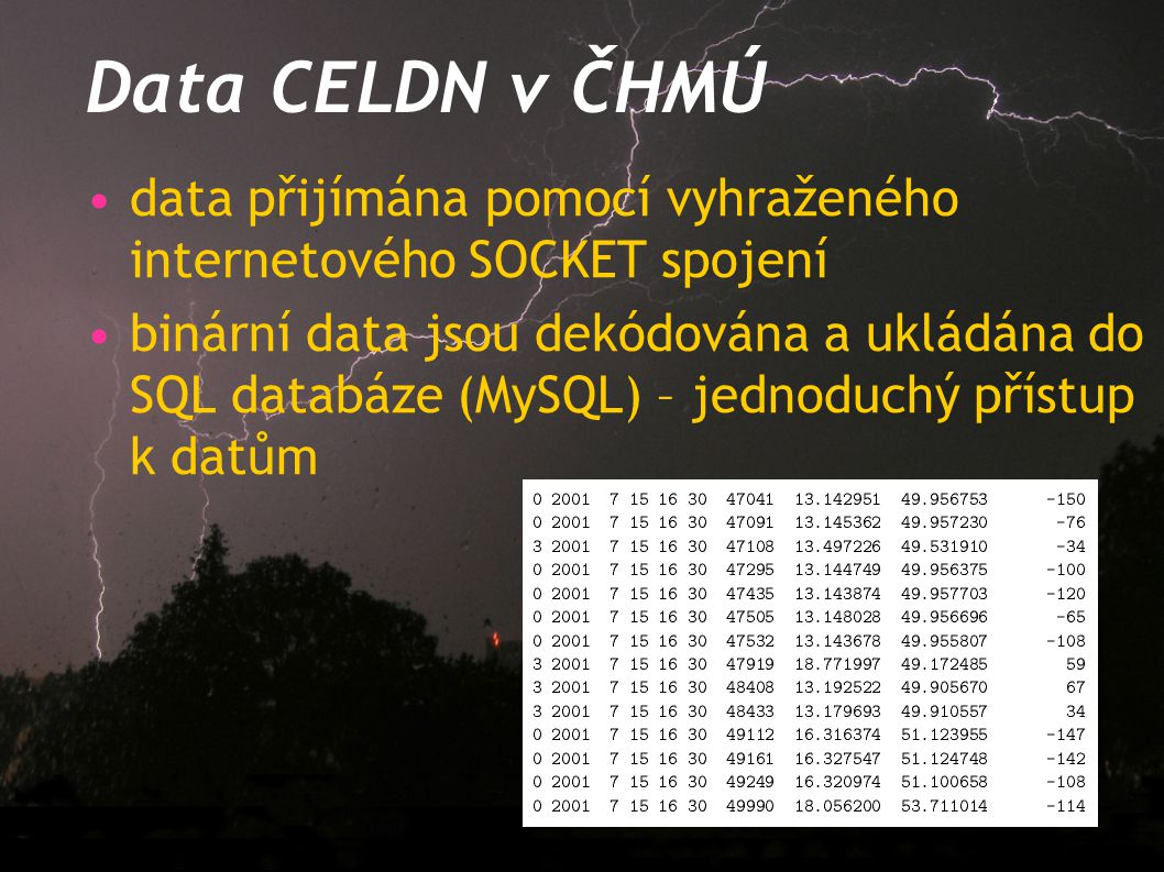 Data CELDN v ČHMÚ data přijímána pomocí vyhraženého internetového SOCKET spojení binární data jsou dekódována a ukládána do SQL databáze (MySQL) – jed