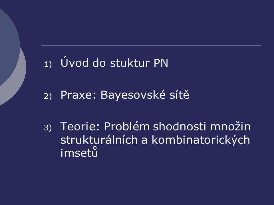 1) Úvod do stuktur PN 2) Praxe: Bayesovské sítě 3) Teorie: Problém shodnosti množin strukturálních a kombinatorických imsetů