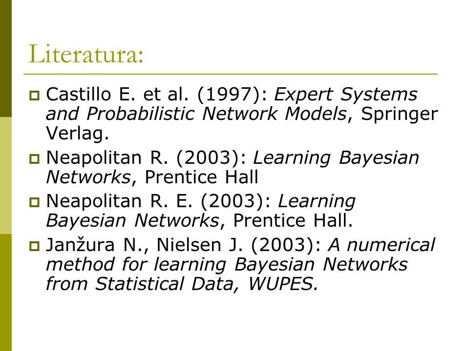Literatura:  Castillo E. et al. (1997): Expert Systems and Probabilistic Network Models, Springer Verlag.  Neapolitan R. (2003): Learning Bayesian N