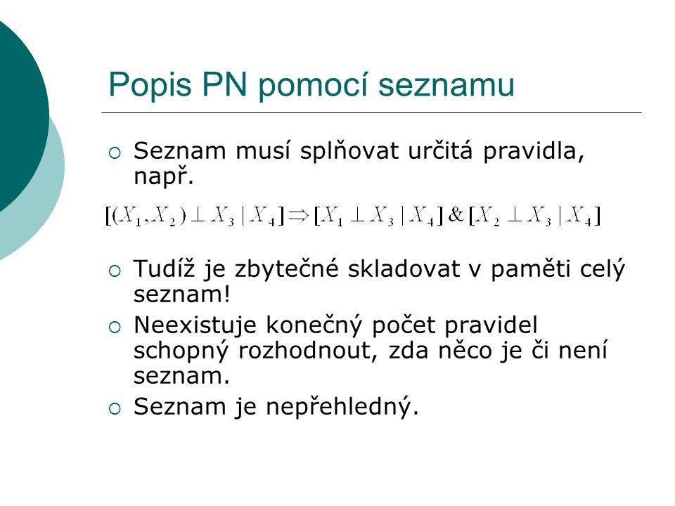 Popis PN pomocí seznamu  Seznam musí splňovat určitá pravidla, např.