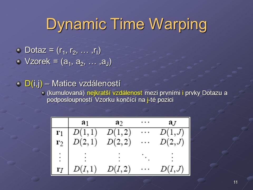 11 Dynamic Time Warping Dotaz = (r 1, r 2, …,r I ) Vzorek = (a 1, a 2, …,a J ) D(i,j) – Matice vzdáleností (kumulovaná) nejkratší vzdálenost mezi prvními i prvky Dotazu a podposloupností Vzorku končící na j-té pozici