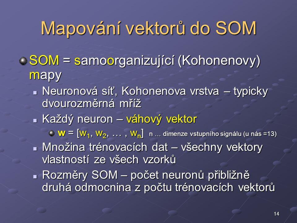 14 Mapování vektorů do SOM SOM = samoorganizující (Kohonenovy) mapy Neuronová síť, Kohonenova vrstva – typicky dvourozměrná mříž Neuronová síť, Kohonenova vrstva – typicky dvourozměrná mříž Každý neuron – váhový vektor Každý neuron – váhový vektor w = [w 1, w 2, …, w n ] n … dimenze vstupního signálu (u nás =13) w = [w 1, w 2, …, w n ] n … dimenze vstupního signálu (u nás =13) Množina trénovacích dat – všechny vektory vlastností ze všech vzorků Množina trénovacích dat – všechny vektory vlastností ze všech vzorků Rozměry SOM – počet neuronů přibližně druhá odmocnina z počtu trénovacích vektorů Rozměry SOM – počet neuronů přibližně druhá odmocnina z počtu trénovacích vektorů