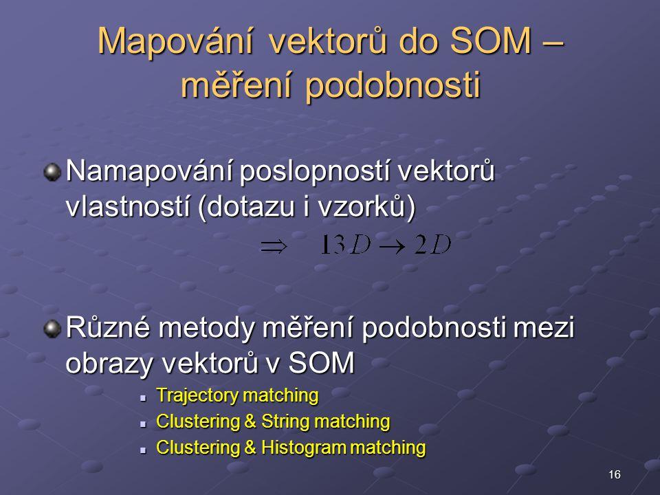 16 Namapování poslopností vektorů vlastností (dotazu i vzorků) Různé metody měření podobnosti mezi obrazy vektorů v SOM Trajectory matching Trajectory matching Clustering & String matching Clustering & String matching Clustering & Histogram matching Clustering & Histogram matching Mapování vektorů do SOM – měření podobnosti