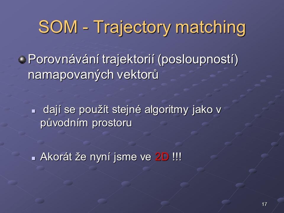 17 SOM - Trajectory matching Porovnávání trajektorií (posloupností) namapovaných vektorů dají se použít stejné algoritmy jako v původním prostoru dají se použít stejné algoritmy jako v původním prostoru Akorát že nyní jsme ve 2D !!.