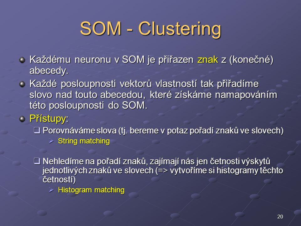 20 SOM - Clustering Každému neuronu v SOM je přiřazen znak z (konečné) abecedy.