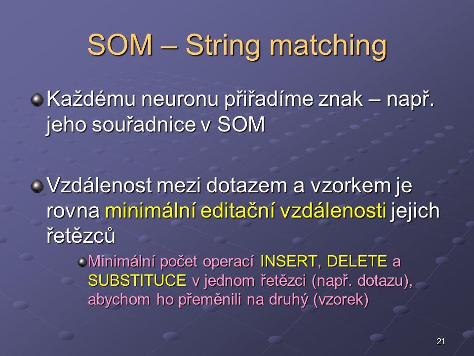 21 SOM – String matching Každému neuronu přiřadíme znak – např.