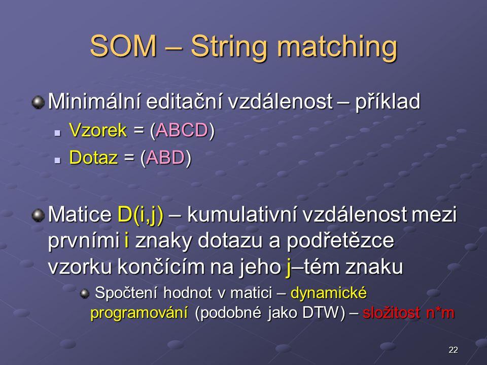 22 SOM – String matching Minimální editační vzdálenost – příklad Vzorek = (ABCD) Vzorek = (ABCD) Dotaz = (ABD) Dotaz = (ABD) Matice D(i,j) – kumulativní vzdálenost mezi prvními i znaky dotazu a podřetězce vzorku končícím na jeho j–tém znaku Spočtení hodnot v matici – dynamické programování (podobné jako DTW) – složitost n*m Spočtení hodnot v matici – dynamické programování (podobné jako DTW) – složitost n*m