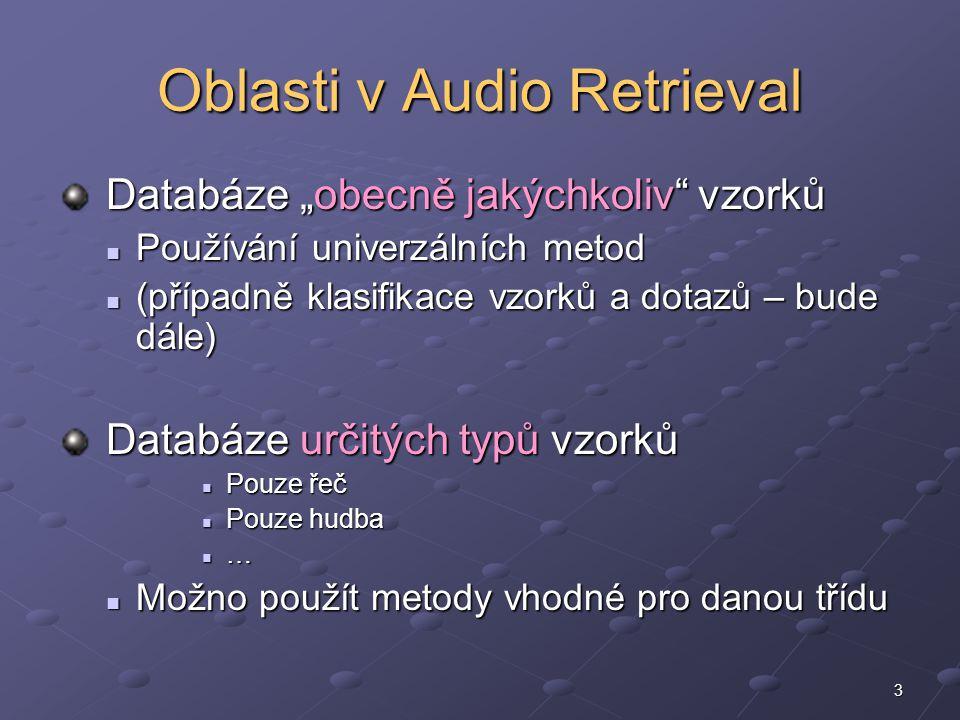 """3 Oblasti v Audio Retrieval Databáze """"obecně jakýchkoliv vzorků Databáze """"obecně jakýchkoliv vzorků Používání univerzálních metod Používání univerzálních metod (případně klasifikace vzorků a dotazů – bude dále) (případně klasifikace vzorků a dotazů – bude dále) Databáze určitých typů vzorků Databáze určitých typů vzorků Pouze řeč Pouze řeč Pouze hudba Pouze hudba … Možno použít metody vhodné pro danou třídu Možno použít metody vhodné pro danou třídu"""
