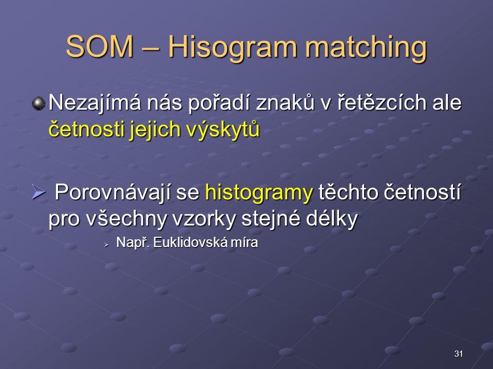 31 SOM – Hisogram matching Nezajímá nás pořadí znaků v řetězcích ale četnosti jejich výskytů  Porovnávají se histogramy těchto četností pro všechny vzorky stejné délky  Např.