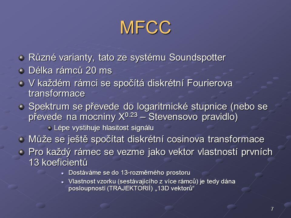 8 MFCC [a 1,a 2, … a 13 ] rámec transformace