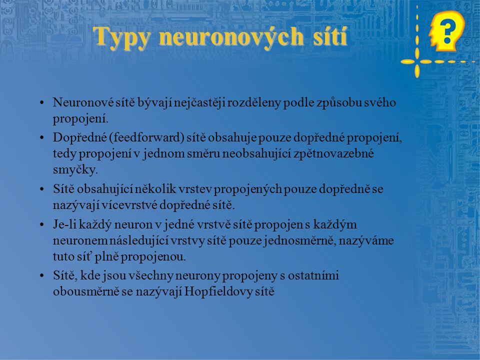 Typy neuronových sítí Neuronové sítě bývají nejčastěji rozděleny podle způsobu svého propojení.